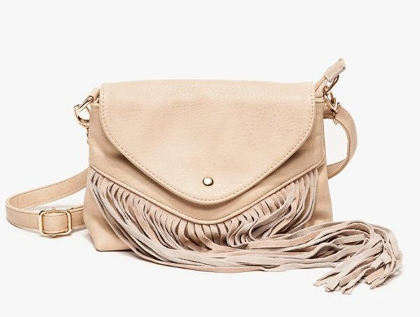 cream fringe crossbody