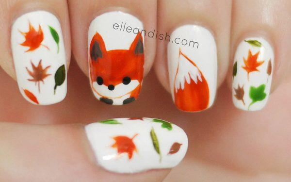 cute fox nail art bmodish dot com