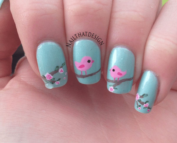 cute little bird nail art bmodish dot com