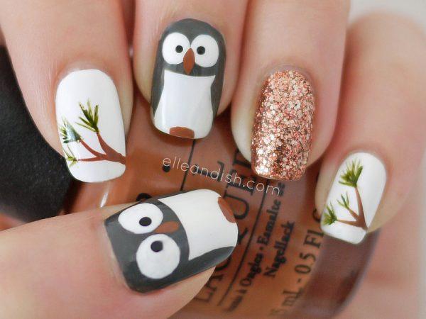 cute owl nail art bmodish dot com
