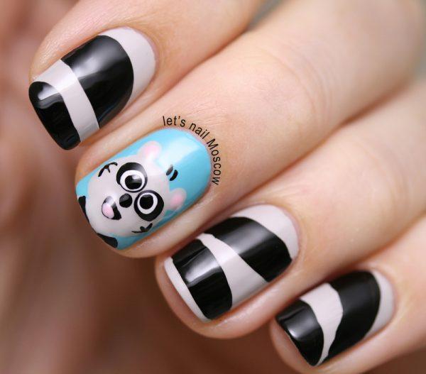 cute racoon nail art bmodish dot com