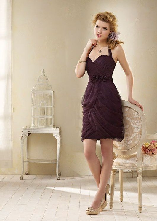 dark purple short bridesmaid dress