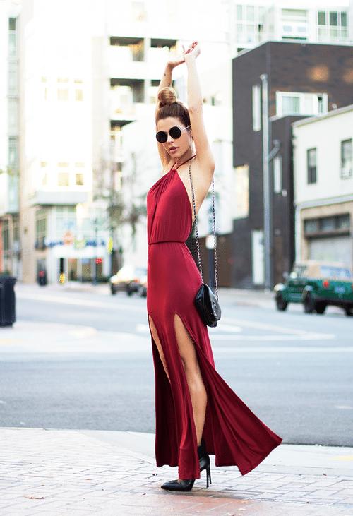 dark red maxi dress street style