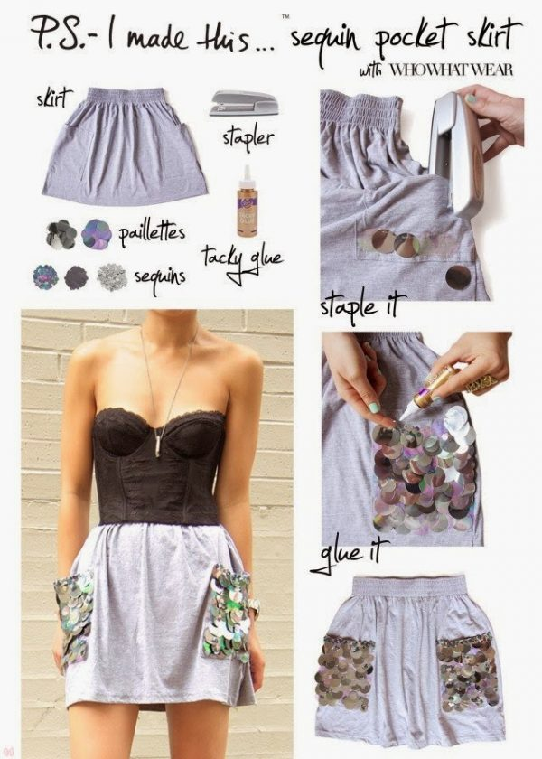 diy sequin pocket skirt