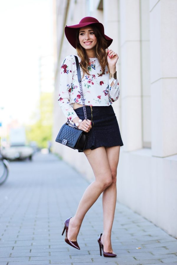 floral blouse with mini skirt bmodish
