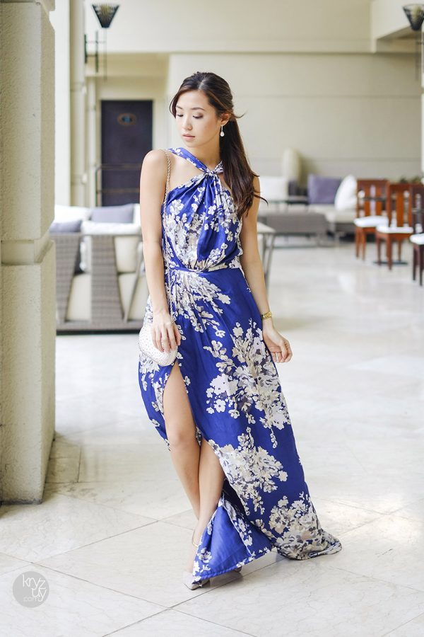 floral blue split maxi dress