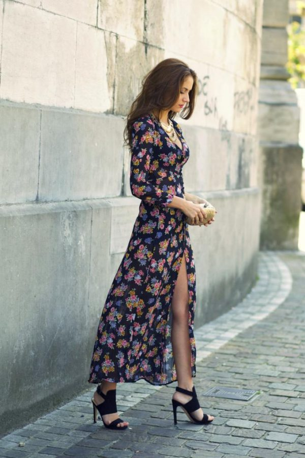 floral maxi dress with split