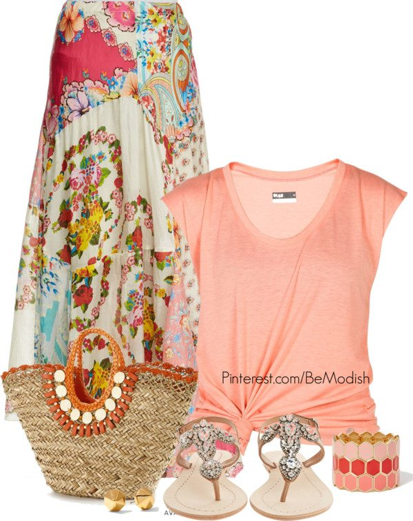 floral spring maxi skirt outfit idea