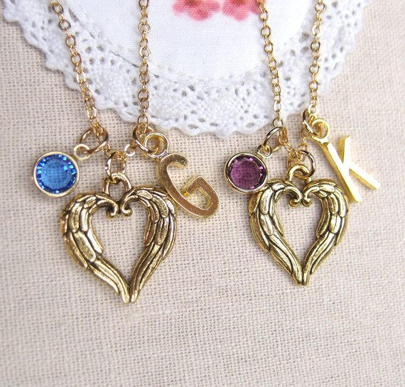 gold angel wings heart best friend necklace bmodish