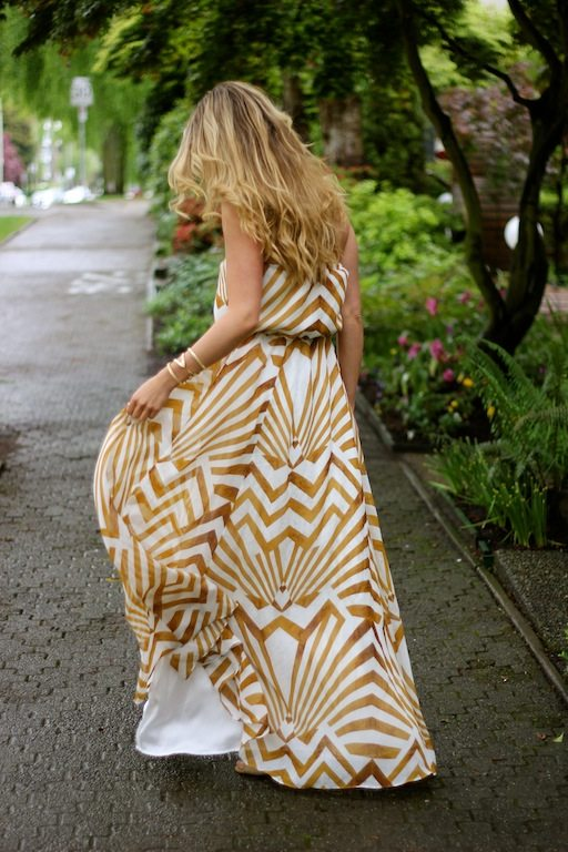gold painted maxi dress