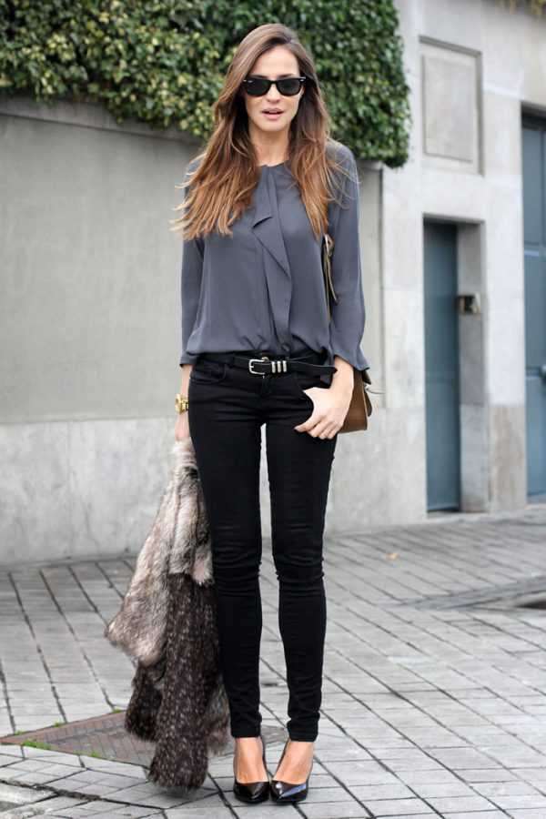 grey blouse with black jeans casual business style bmodish