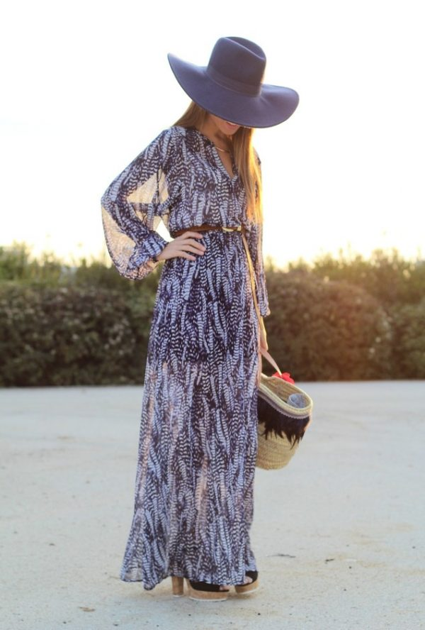 maxi dress with hat
