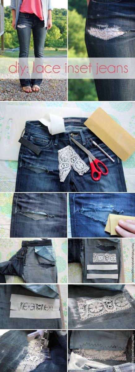 lace jeans diy