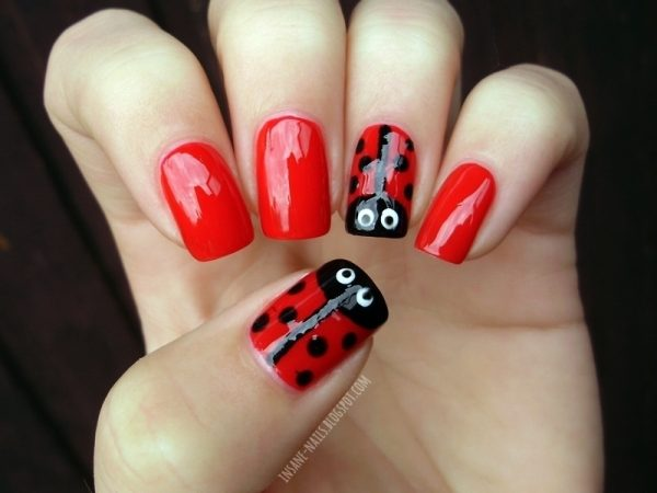 red ladybug cute nail art bmodish