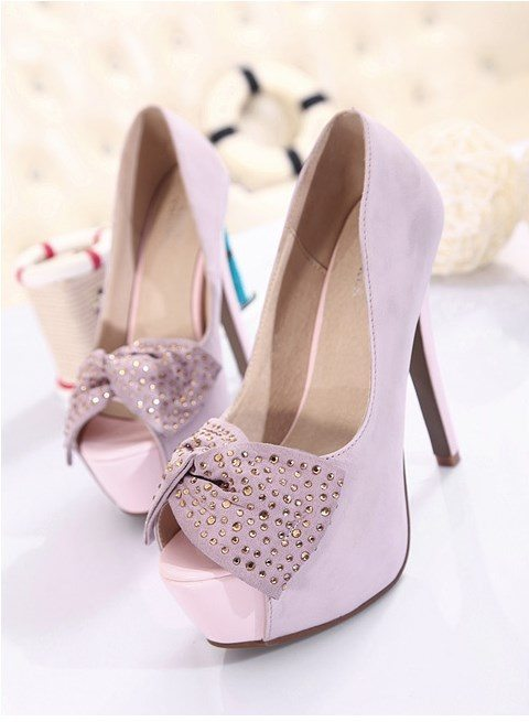lavender high heels with bow