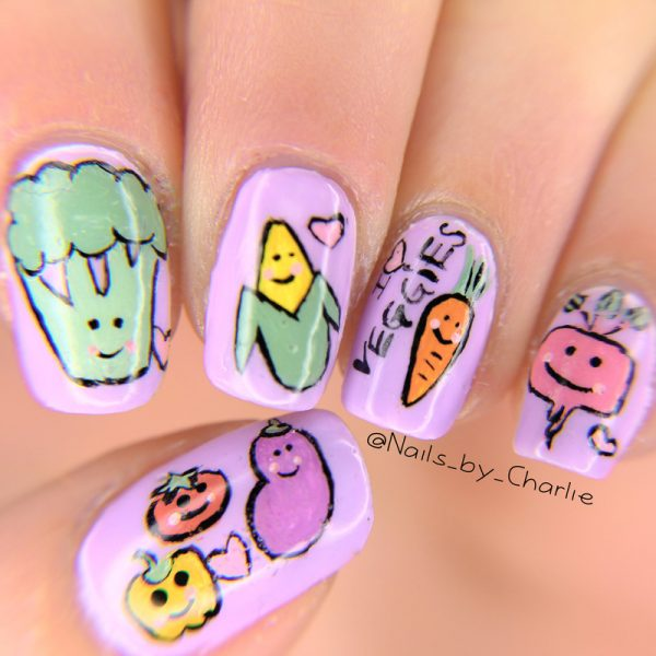 lavender veggies nail art
