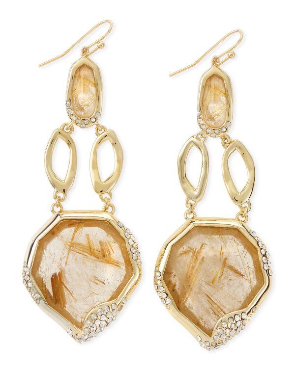 light brown rutilated earrings