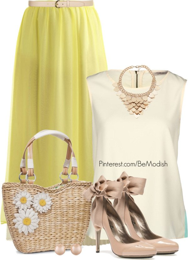 lovely yellow maxi skirt outfit