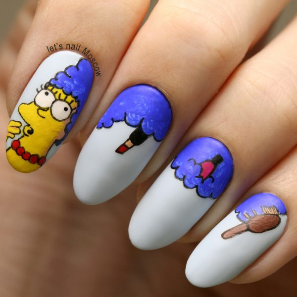 15 newest cool and creative nail designs 2014 be modish marge simpson nail art prinsesfo Choice Image
