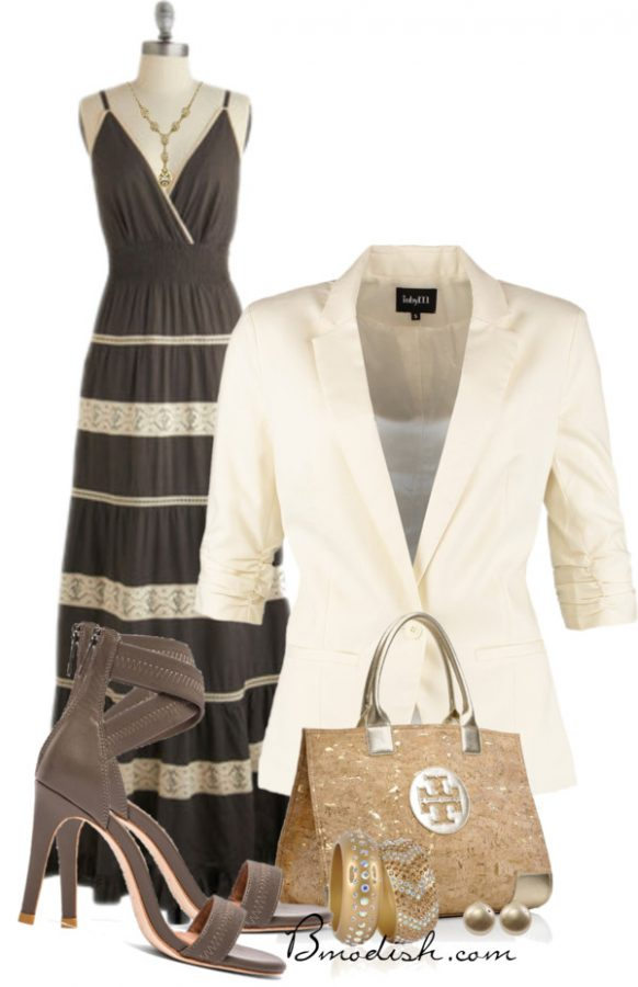 maxi dress with blazer outfit idea bmodish
