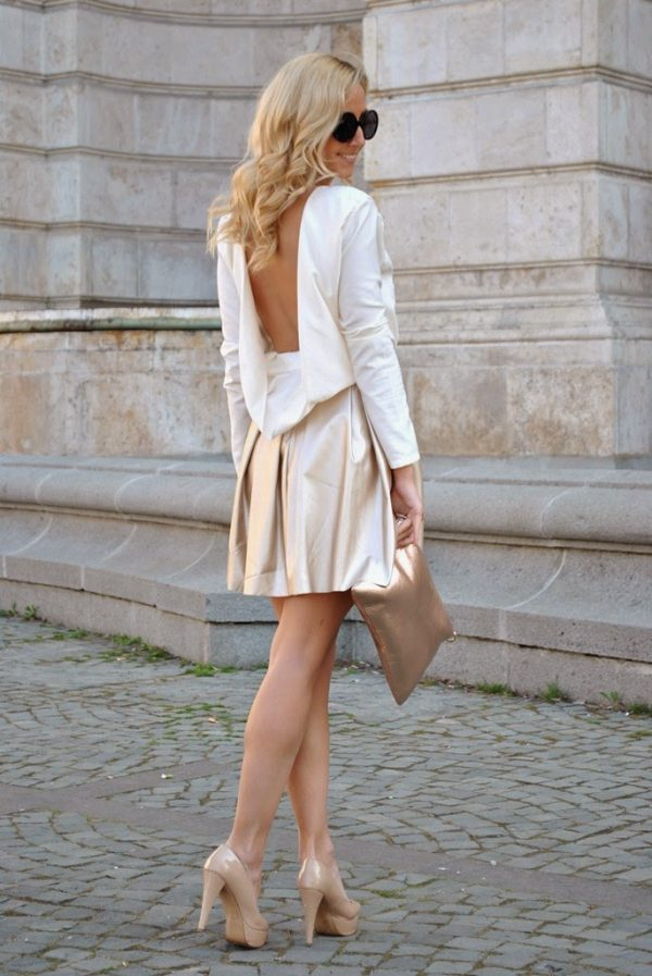 metallic skirt with white ivory blouse bmodish