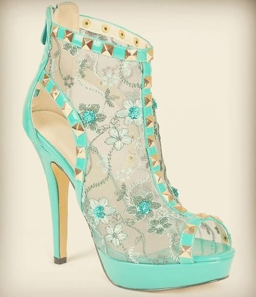 mint floral lace high heels