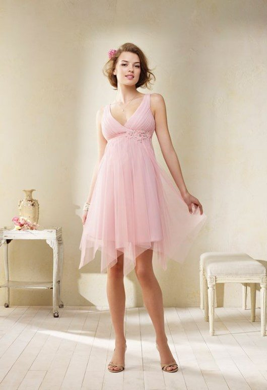 modern vintage blush pink bridesmaid dress 2