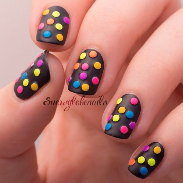 Coming up with stylish funky nail designs be modish neon studded mani nail art bmodish dot com prinsesfo Images