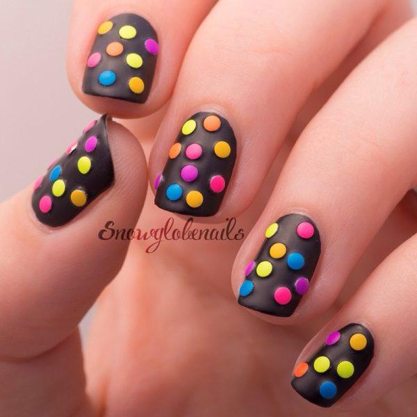neon studded mani nail art bmodish dot com