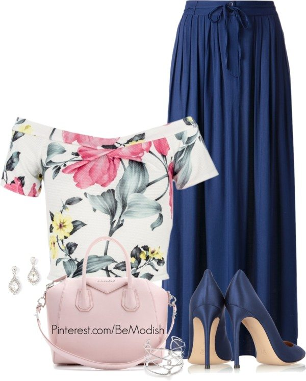 off shoulder crop top with maxi skirt outfit