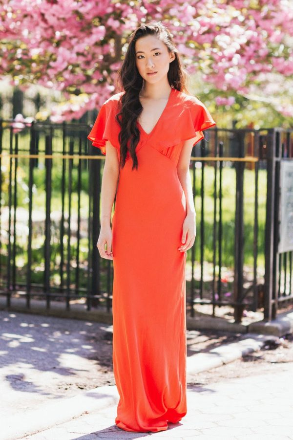 orange cape back maxi dress