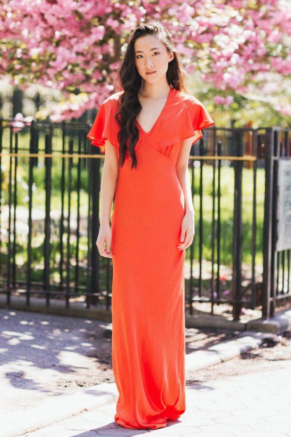 orange cape back maxi dress
