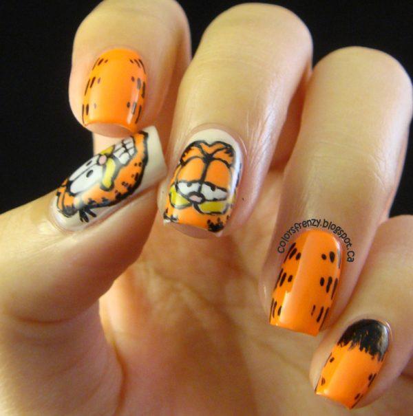 orange garfield nail art