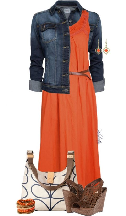 orange maxi dress with denim jacket outfit bmodish