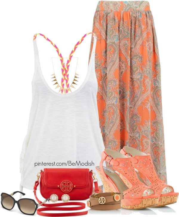 orange printed maxi skirt outfit