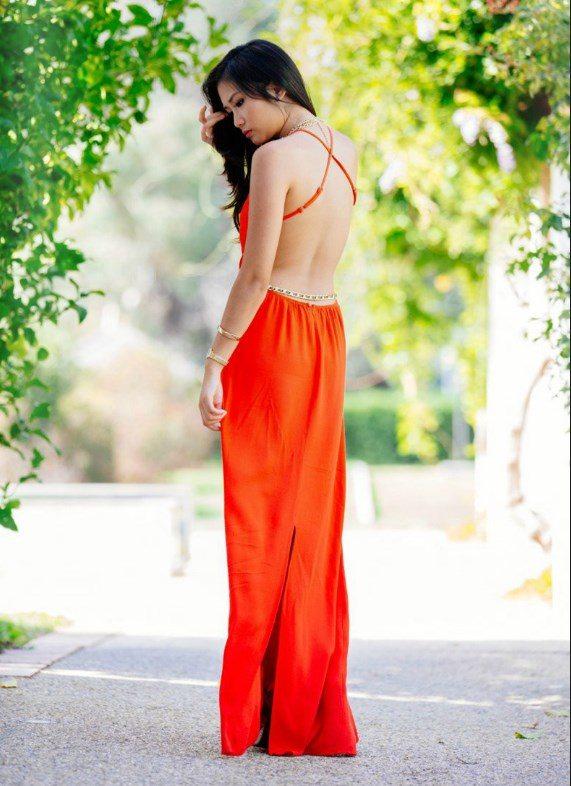 orange open back maxi dress