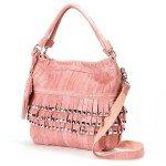 pale pink fringe crossbody bag