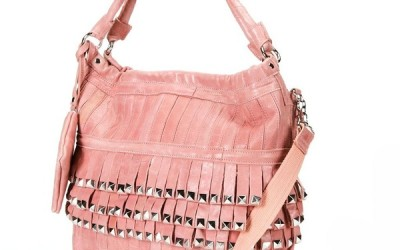 pale pink fringe crossbody bag