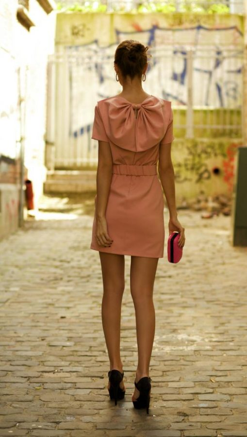 peach bow back dress