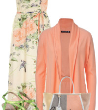 peach cardigan with maxi dress outfit bmodish