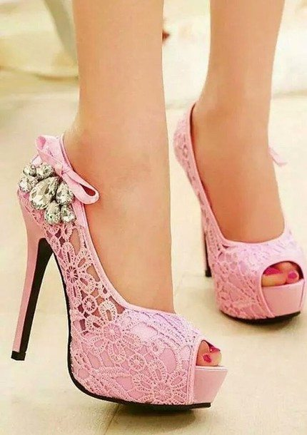 pink-heels-lace-pink-rose-pretty-cute