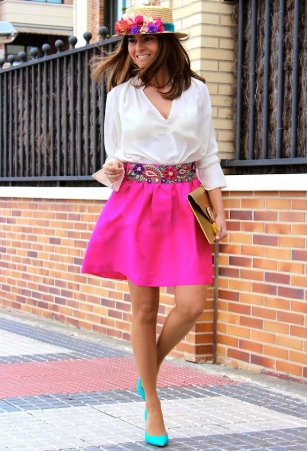 pink skirt with white blouse bmodish