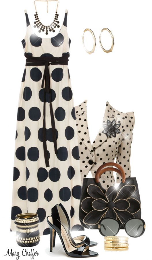 polka dot maxi dress outfit idea bmodish
