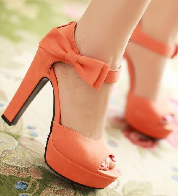 pretty orange bow high heels