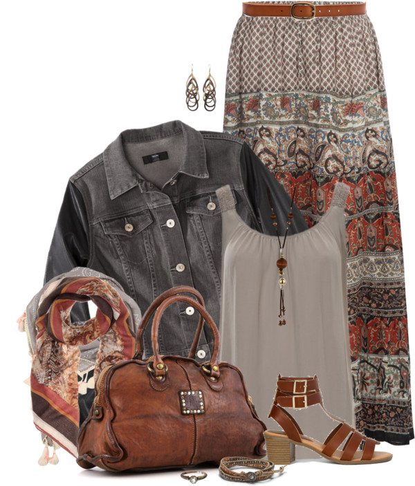 pretty printed maxi skirt with denim jacket outfit