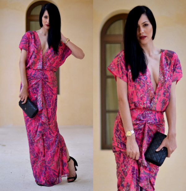 printed maxi dress with split