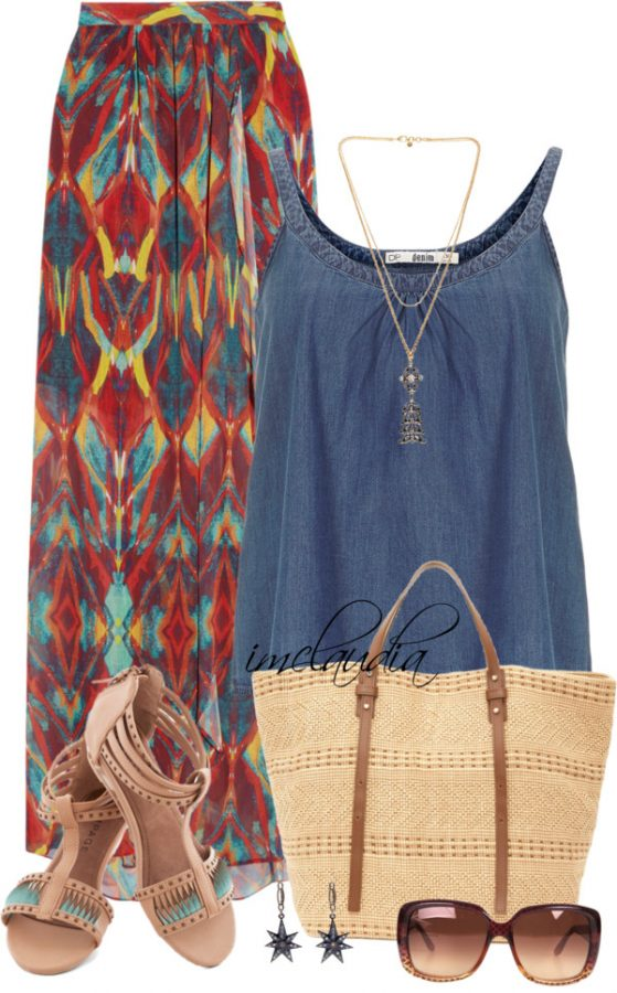 printed maxi skirt summer outfits
