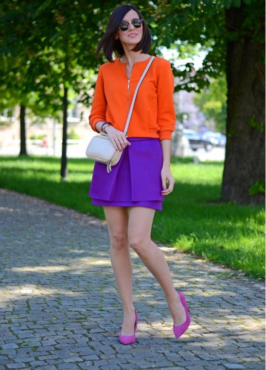 purple skirt with orange blouse bmodish