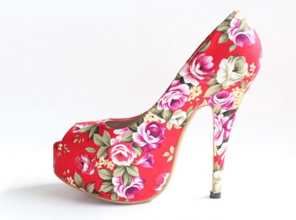 red floral high heels