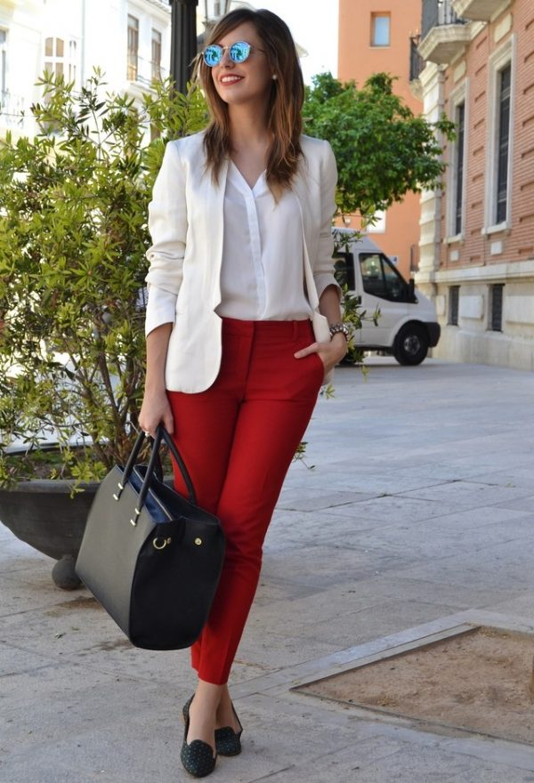 red pants casual business look bmodish